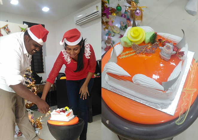 cake cutting for Christmas