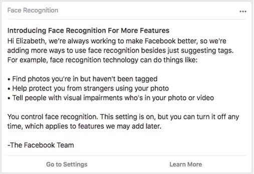 Facebook Face recognition pop up
