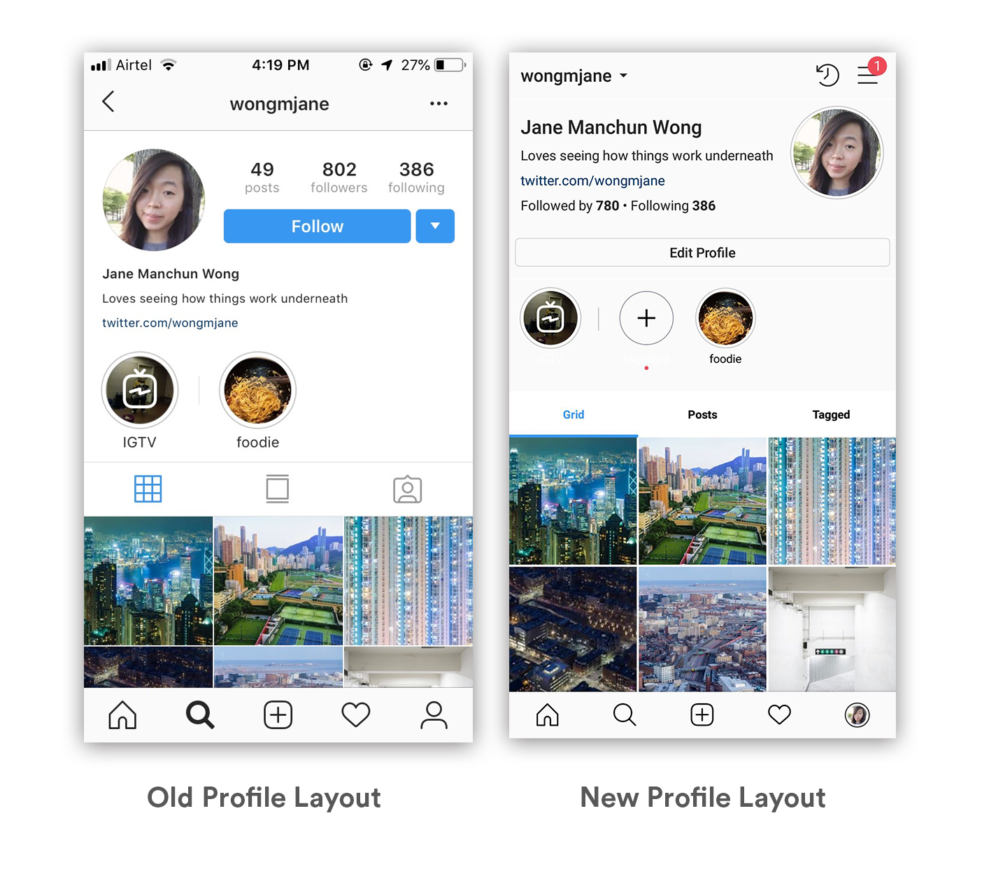 Instagram profile layout
