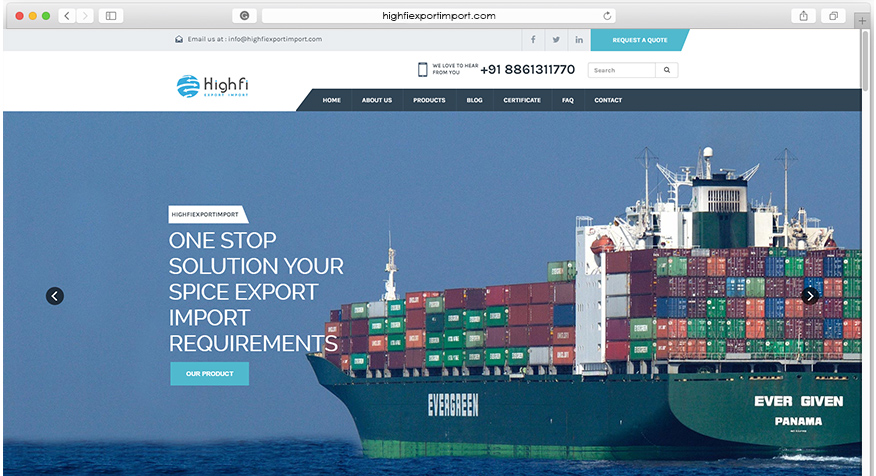 Web Design for import and export of spice business | Ultimez